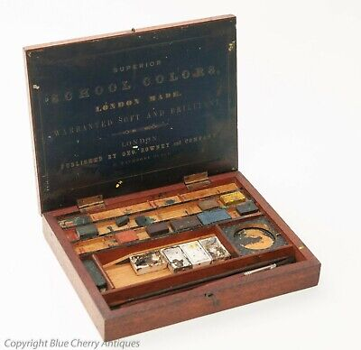 Antique George Rowney Mahogany Artist Watercolour School Colors Art Box & Paints