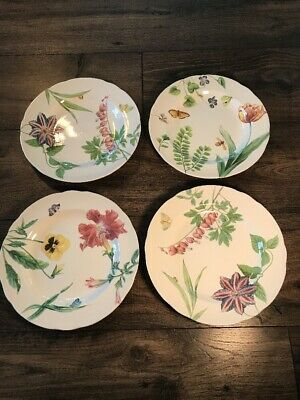 "Set of 4 ENGLISH FLORAL Spode for Williams-Sonoma Salad/Dessert Plates 9 1/8"" A"