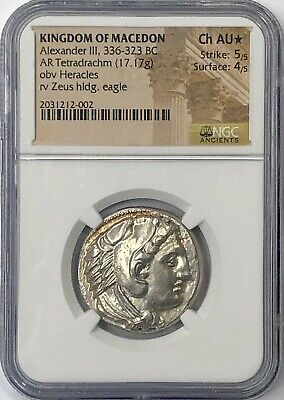 "Alexander the Great 336-323 BC Silver Tetradrachm ""Lifetime issue"" NGC CHAU*"