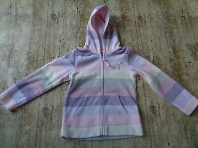 Girls Next Purple and Pink Striped Fleece Top / Jacket Age 5 Years