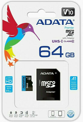 Adata 64GB Micro SDXC Class 10 85MB/s Class A1 Fit For GoPro Hero 4 5 6 7