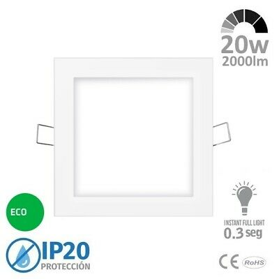 Downlight LED 20w Cuadrado Blanco Extrafino