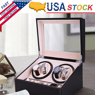 4+6 Automatic Rotation Leather Wood Watch Winder Storage Display Case Box US