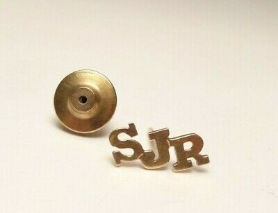 14k SOLID YELLOW GOLD CUSTOM INITIALS SJR TIE TACK LAPEL PIN VINTAGE
