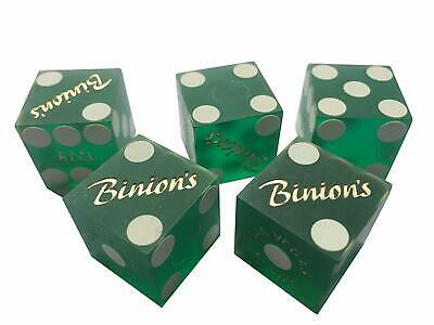 Authentic PAIR OF BINIONS LAS VEGAS CASINO DICE w/ tube clear GREEN - numbered