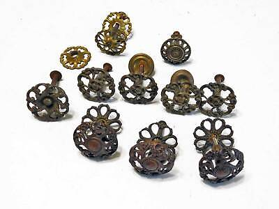 10 Original Antique Victorian Decorative Cast Brass Drawer Pulls Original Patina