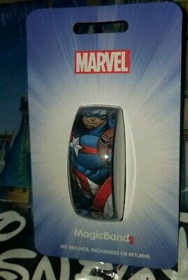 NEW Disney Parks Marvel Avengers CAPTAIN AMERICA Blue Magic Band 2 LINK IT LATER