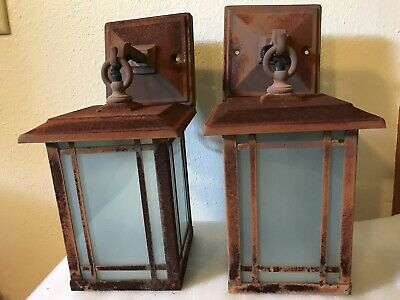 Arts and Crafts Entry Lamps-Mid Century- Price Is For Pair