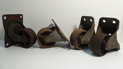 Set 4 Antique Vintage Metal Industrial Wheels Castors Table Trolley Workbench