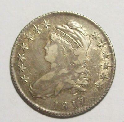 1817-O 105A Early CAPPED BUST HALF DOLLAR Die Crack/ Clashed Dies  R-4 XF #15B92