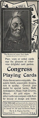 1901 Antique Ad Congress U.s Playing Card Company Rookwood Indian Fashionable Patterns