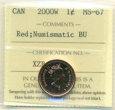 2000W Canada Small Cent Certified ICCS MS-67 Red NBU