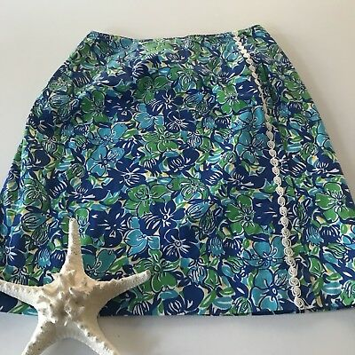 2085c1b60bd068 Lilly Pulitzer Vintage Skirt Sz4 Lined Blue Green Faux Wrap Embellished  Casual