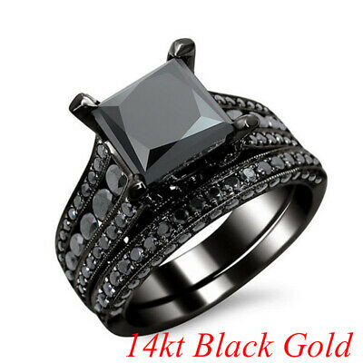 14kt Black Gold Filled Black Sapphire Elegant Women Wedding 2pc Ring Size 5-12