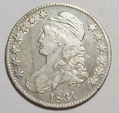 1831  Early CAPPED BUST HALF DOLLAR Old Cleaning XF #18B92