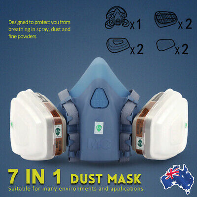 7 in 1 Half Face Gas Mask Suit Protection Spray Painting Respirator dust mask