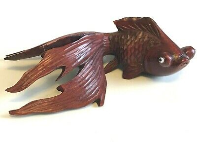 "Vintage Chinese Hand Carved Rosewood Koi Fish 4"" Glass Eyes"