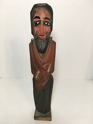 """Vintage Handcrafted Wood Monk Priest Folk Art Guatemala Mexico Style 13.5"""""""