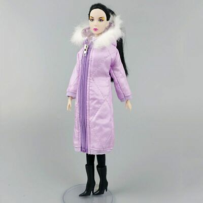 Purple Long Coat Cotton Dress for 1/6 Doll Clothes Parka Kids Toy  Wear Jacket