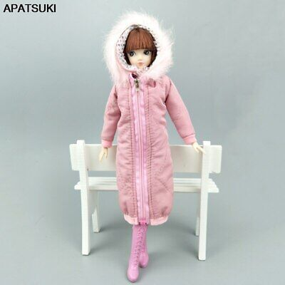 Pink Long Winter Coat Dress Doll Clothes Parka For 1/6 Doll Winter Wear Jacket