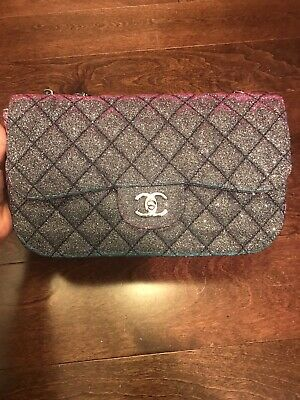 d5a1d1dec91f RARE CHANEL Iridescent Glitter Flap Bag Rainbow With Box, Authenticity Card!