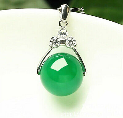 Natural Hand-carved Chinese Green Jade Pendant Insert Silver Pendant Jewelry