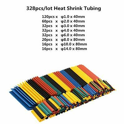 328pcs 2:1 Heat Shrink Tubing Tube Assortment Wire Cable Insulation Sleeving Kit