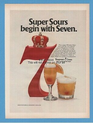 1979 Seagrams 7 Crown Whiskey Super Sours Drinks Vintage Photo Print Ad