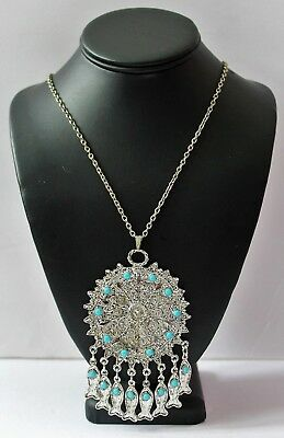 Baby Blue Turquoise Glass Silver Tone   Large Byzantine Necklace Nc10