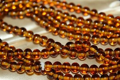 Antique Art Deco Amber Bead Art Glass Long Lovely Wonderful Necklace Ng4