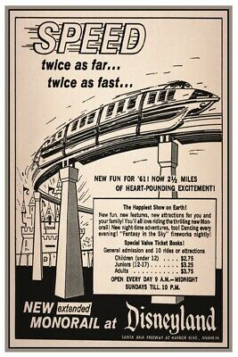 Disneyland Monorail Ad - Collector Poster 4 Different Sizes  (B2G1 Free!!)