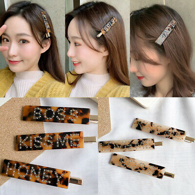 Girls Exquisite Leopard Rhinestone Hairpin Acrylic Letter Geometric Hair Clips