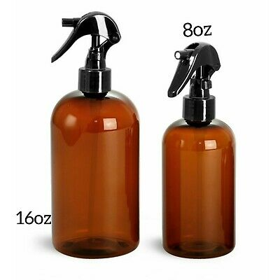 Empty Amber Plastic Spray Bottles (2 Pack) - 8oz /16oz Refillable Container