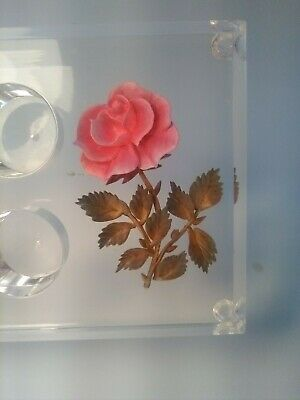 Vintage Clear Acrylic Pink Rose Lipstick Holder 6 collectible gift