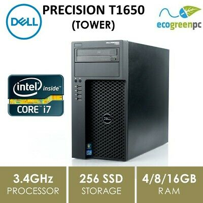TOWER - DELL PRECISION T1650, i7-3770, 4/8/16GB, 256 SSD,DVDRW, QUADRO 2000