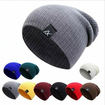Mens Womens Warm Wool Knit Baggy Beanie Winter Hat Ski Slouchy Chic Knitted Cap