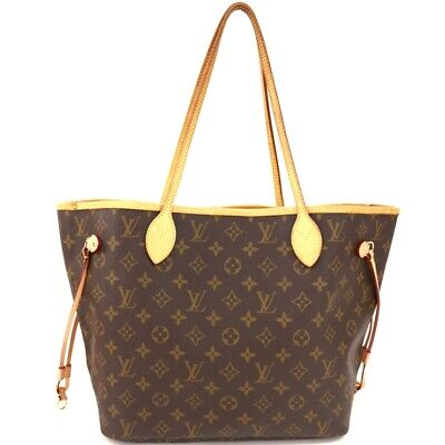 c5e2a7f53fc61 Auth LOUIS VUITTON Monogram Neverfull MM M40156 Tote Bag Brown Leather