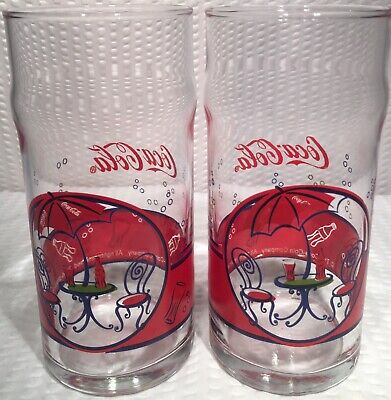 Lot Of 2 ~ Coca Cola Coke French Bistro Cafe Umbrella Vintage Drinking Glass-NEW