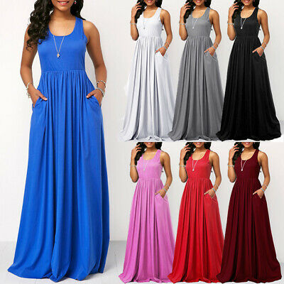 Womens Ladies Long Summer Vest Strappy Pockets Racer Muscle Back Maxi Dresses