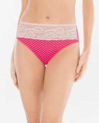 61f38d13bf8d Soma Vanishing Edge S Microfiber with Lace High Leg Brief Mod Dot Pink Punch
