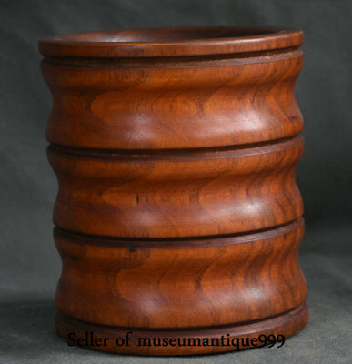 """5.6"""" Ancient Chinese Huanghuali Wood Dynasty Hand Carving Brush Pot Pencil  Vase"""