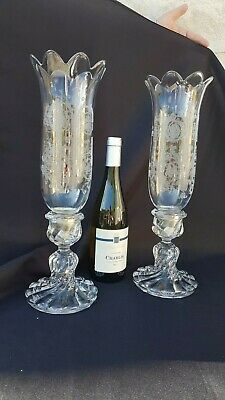 Antique french candlestick, candelabra, Baccarat, cut crystal, molded, stamped