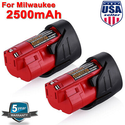2 X For Milwaukee M12 Lithium Compact 48-11-2430 12 Volt Battery Pack 48-11-2401