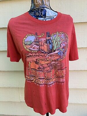 Vintage 80s Louisiana French Food Festival T Shirt Single Stitch Paper Thin Tee