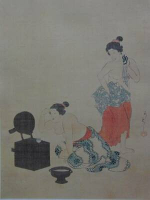 Yoshitoshi Tsukioka Make up Japanese Woodcut Ukiyoe Antiques Old Art Prints used