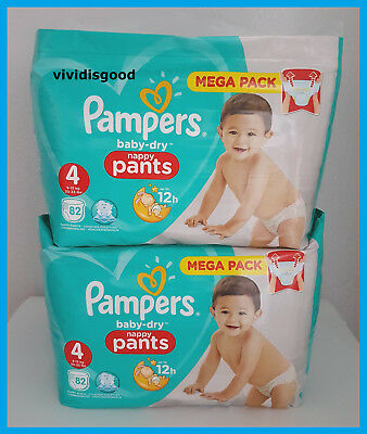 LOT DE 164 (2x82) COUCHES-CULOTTES PAMPERS BABY-DRY PANTS TAILLE 4 (9-15 kg)