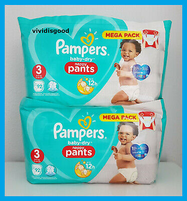 LOT DE 184 (2x92) COUCHES-CULOTTES PAMPERS BABY-DRY PANTS TAILLE 3 (6-11 kg)