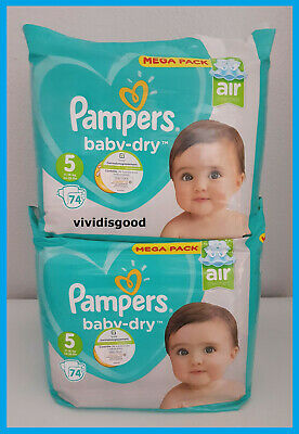 LOT DE 148 (2x74) COUCHES PAMPERS BABY-DRY TAILLE 5 (11-16 kg)