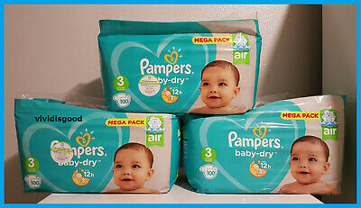LOT DE 300 (3x100) COUCHES PAMPERS BABY-DRY TAILLE 3 (6-10 kg)