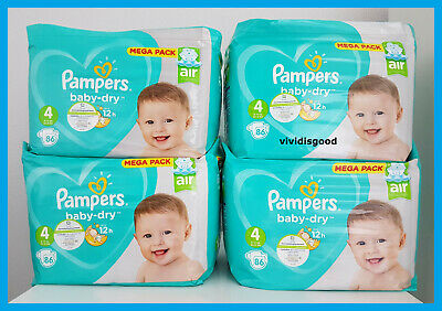 LOT DE 344 (4x86) COUCHES PAMPERS BABY-DRY TAILLE 4 (9-14 kg)